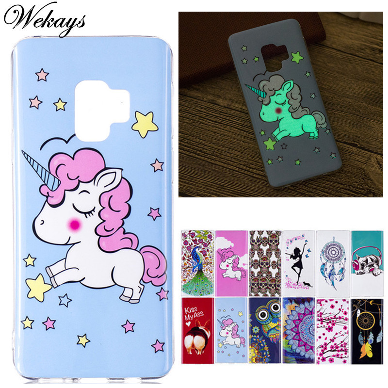 Galleria fotografica Wekays For Samsung Galaxy S9 Plus Luminous Cute Cartoon Unicorn Silicone Soft Fundas Case For Samsung S9 Plus Cover Cases S9plus