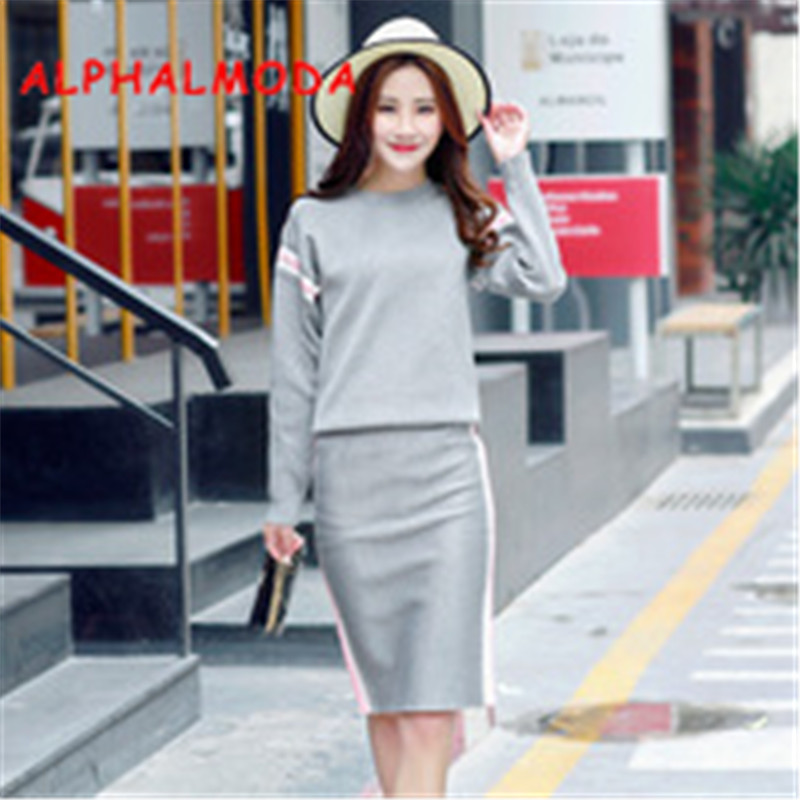 ALPHALMODA Winter Ladies Long Sleeved Sweaters + Step Skirt 2pcs Casual Suit Women's Drop Shoulder Casual Striped Jumper + Skirt