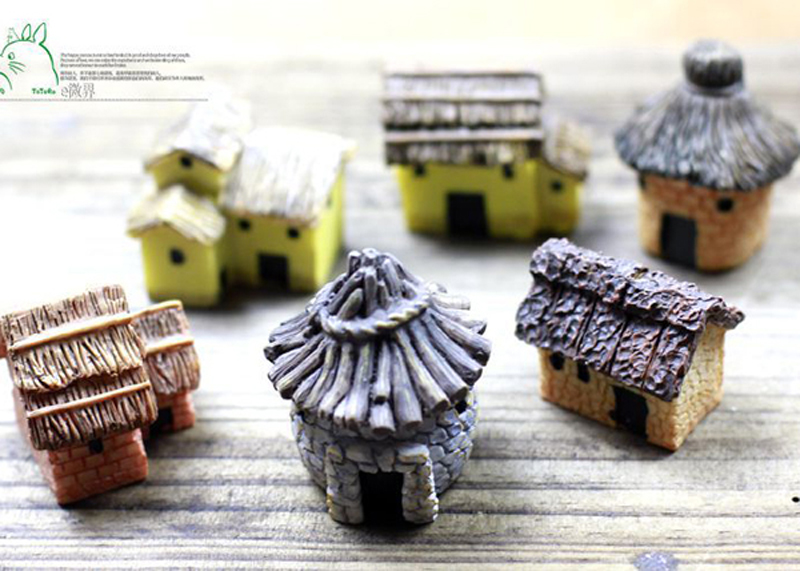 6pcs cottage cabin mini house garden miniatures fairy. Black Bedroom Furniture Sets. Home Design Ideas
