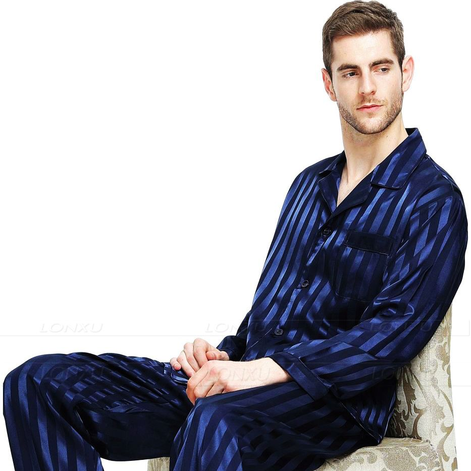 Mens Silk Satin Pajamas Set  Pajama Pyjamas Set  PJS  Sleepwear Set Loungewear  U.S.S,M,L,XL,2XL,3XLL,4XL Plus Striped(China)