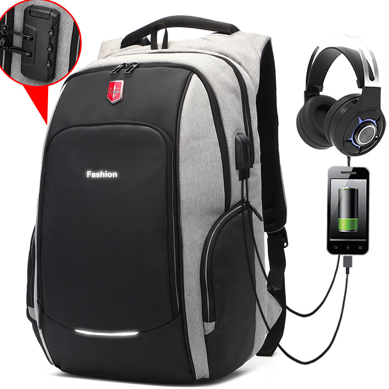 New Anti thief Fashion Men Backpack Multifunctional Waterproof 15 6 inch Laptop Bag Man USB Charging