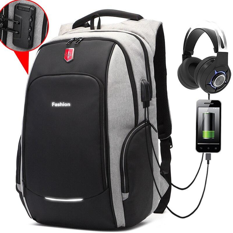 جديد لمكافحة اللص الأزياء الرجال على ظهره متعددة الوظائف للماء 15.6 بوصة حقيبة لابتوب رجل USB شحن حقيبة ظهر للسفر Mochila-في حقائب الظهر من حقائب وأمتعة على  مجموعة 1