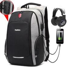 New Anti thief Fashion Men Backpack Multifunctional Waterproof 15.6 inch Laptop Bag Man USB Charging Travel Backpacks Mochila