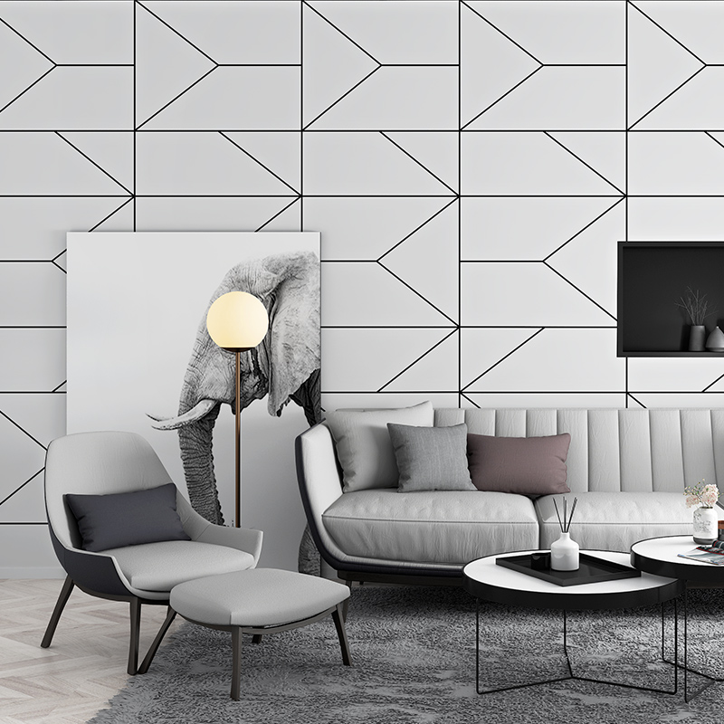 Black And White Modern Abstract Geometric Wallpaper