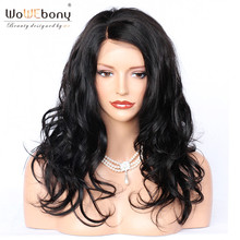 Full Lace Human Hair Wigs With Baby Hair Natural Hairline Wavy Indian Remy Full Lace Wig Side Part Bleached Knots WoWEbony