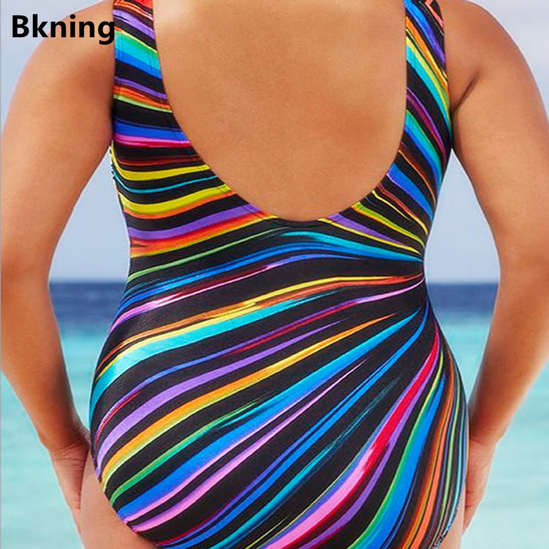 5XL Swimsuit Plus Size One Piece Suits Bandeau Swimwear Women Swim Suits 2019 Striped Neon Color Swimming for Vintage Big 4XL in Body Suits from Sports Entertainment