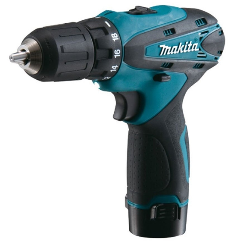 цена на Drill electric screwdriver rechargeable Makita DF330DWE (2 speed, highlighting the work area, reverse, case)