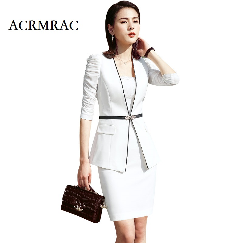 ACRMRAC Women New Summer suit Half sleeve suit Solid color Slim jacket Wide leg pants 2 pieces Set Business OL Formal Pant Suits