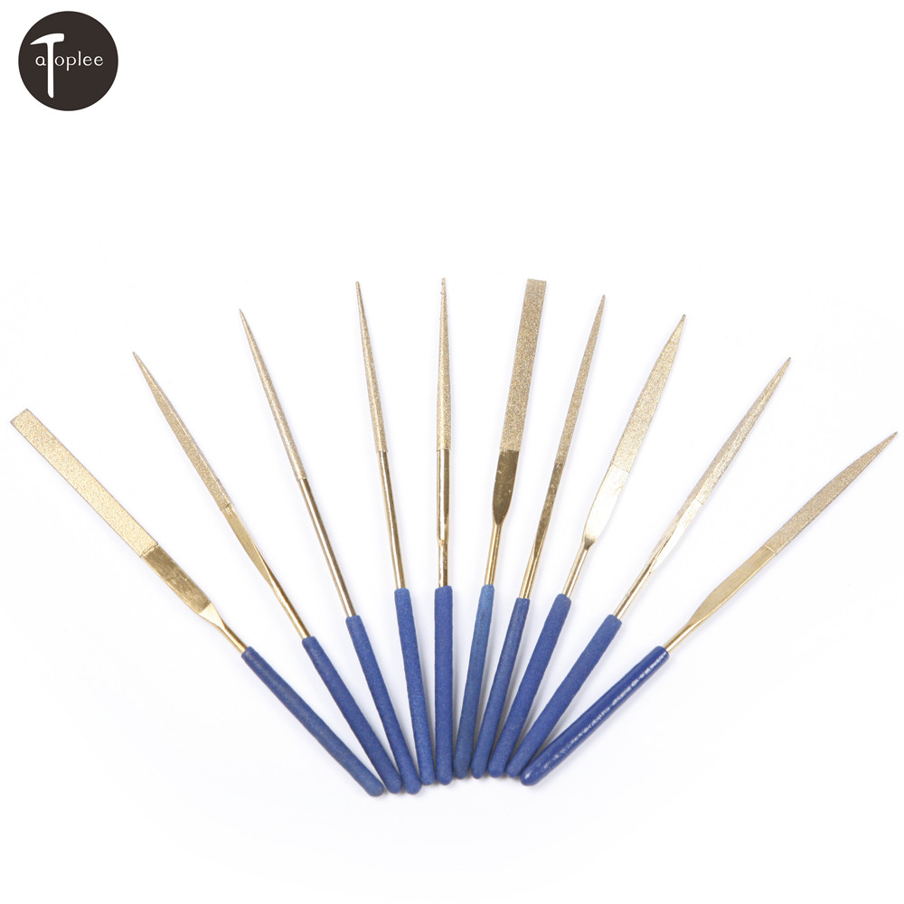 10PCS 3mmx140mm <font><b>150</b></font> Grit Diamond <font><b>Ti</b></font> Coated Needle File Set Hand Tools For Ceramic Glass Gem Stone Filing & Cutting image
