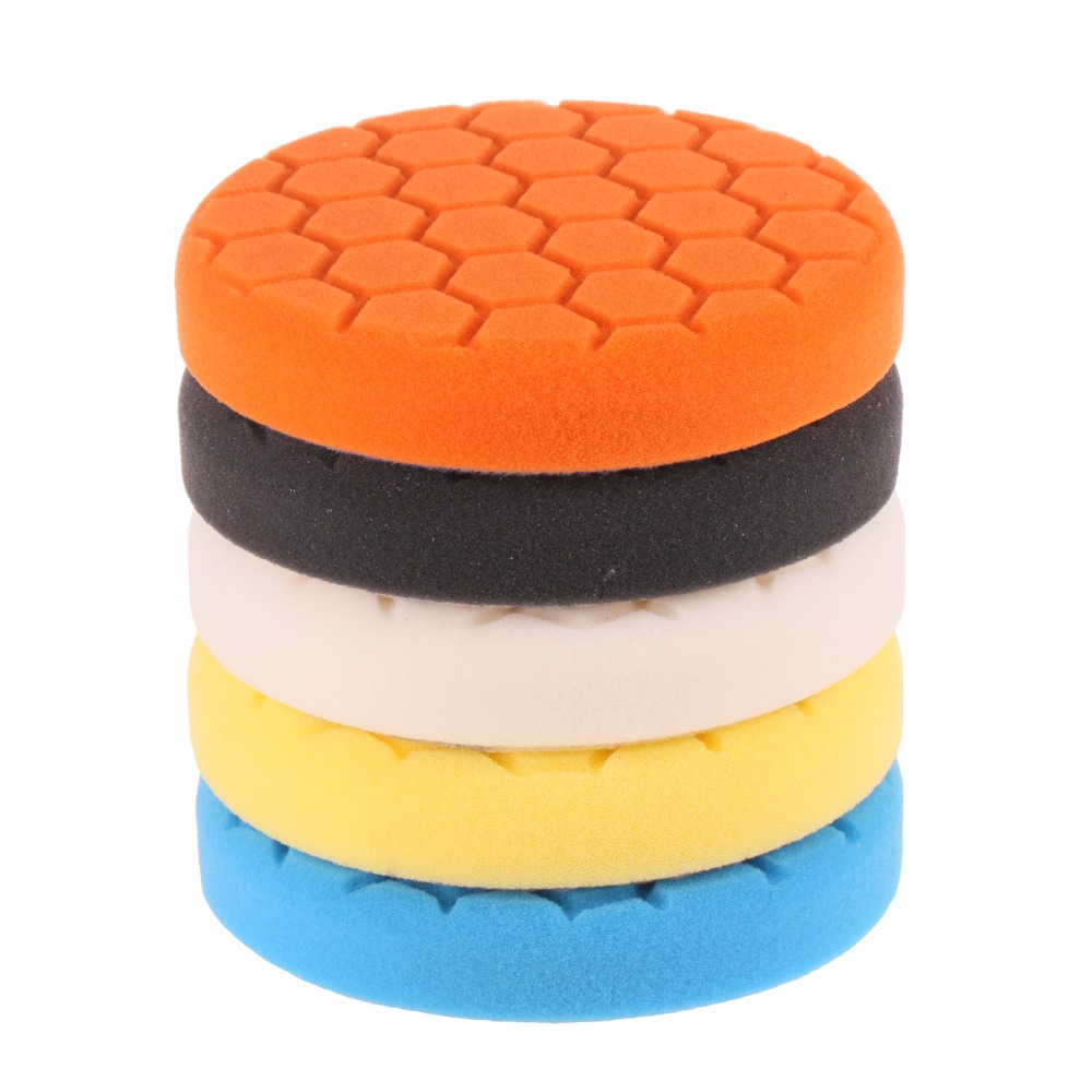 SPTA 5 inch (125mm ) Buff Pad Polishing Pad kit For Car Polisher Pack of 5Pcs-Professional Quality Pack Of 5Pcs spta 4 100mm genuine wool buffing ball polishing pad ball hex shank turn power drill or impact driver high speed polisher