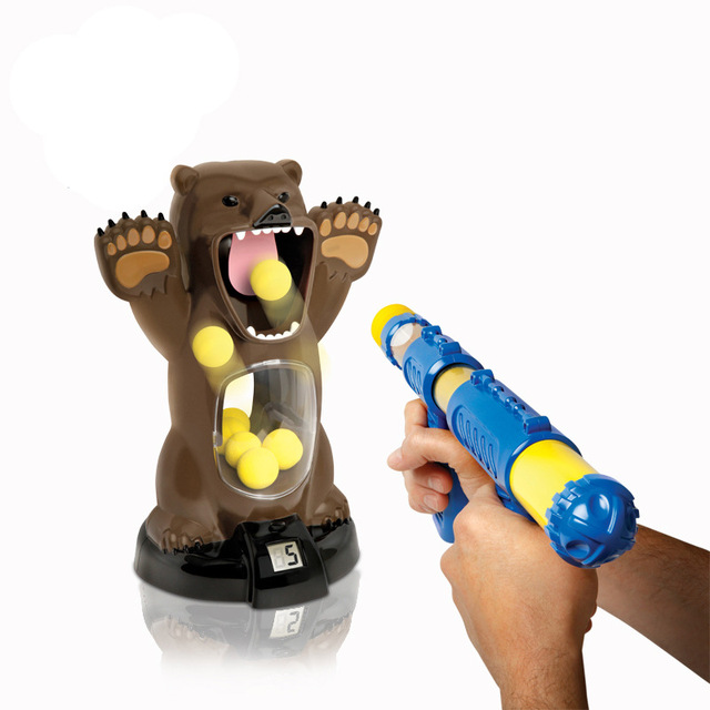bluehat angry bears target bursts of gun toy shooting soft bullet ball table game nerf airsoft guns sound and light