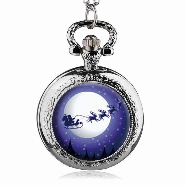 Silver Xmas Gifts Santa Claus and Reindeer Quartz Pocket Watch Analog Pendant Ne