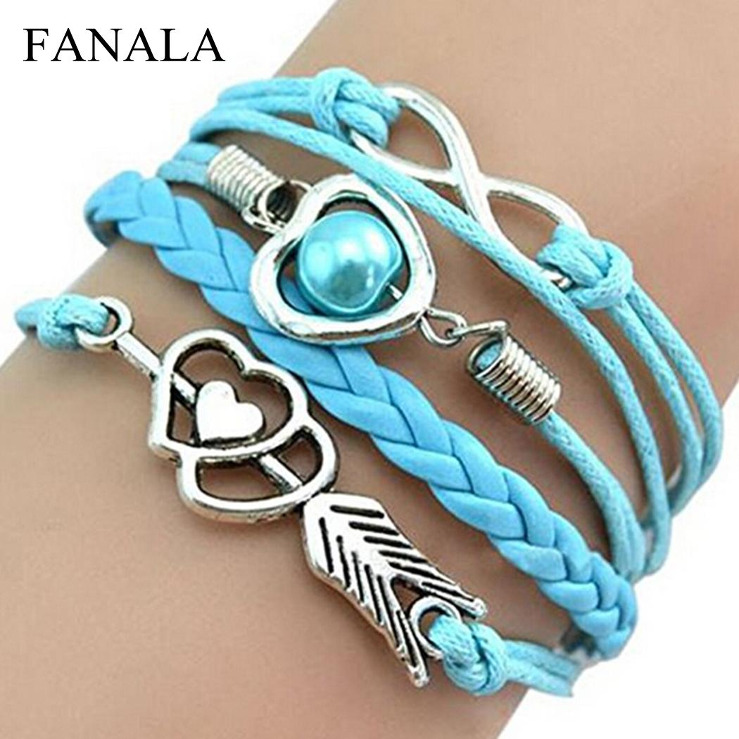 FANALA Bracelet Women Vintage Style Love Infinity Friendship Multilayer Synthetic Leather Braided Bracelets for Women