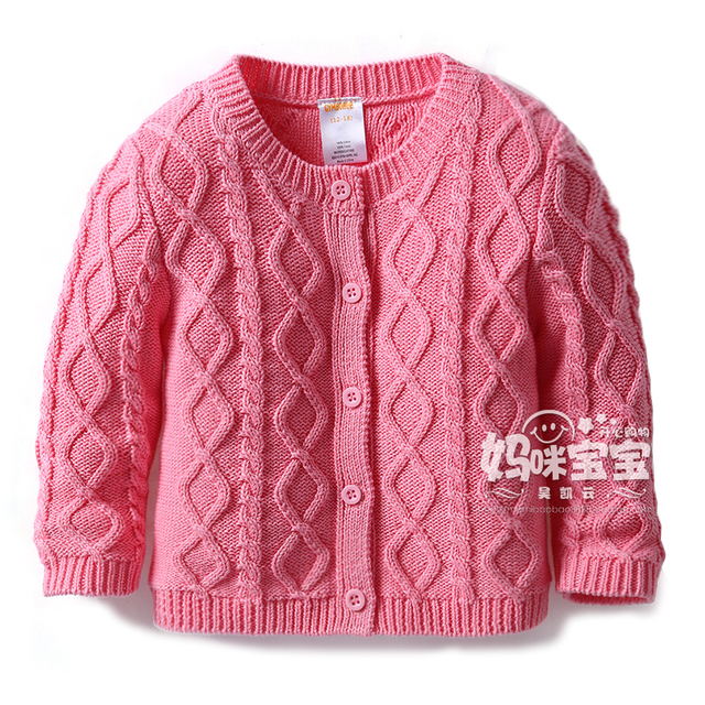 2015 nueva primavera otoño bebé jerseys para niños ropa de los niños 100% algodón jersey de punto bebé capa de las muchachas chaqueta de punto chaquetas
