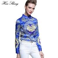 Huashang Vrouwen Formele Blouses Elegante Lange Mouwen Chiffon Tops Casual Vintage Afdrukken Shirt Vrouwen Blauw Blusas chemise femme