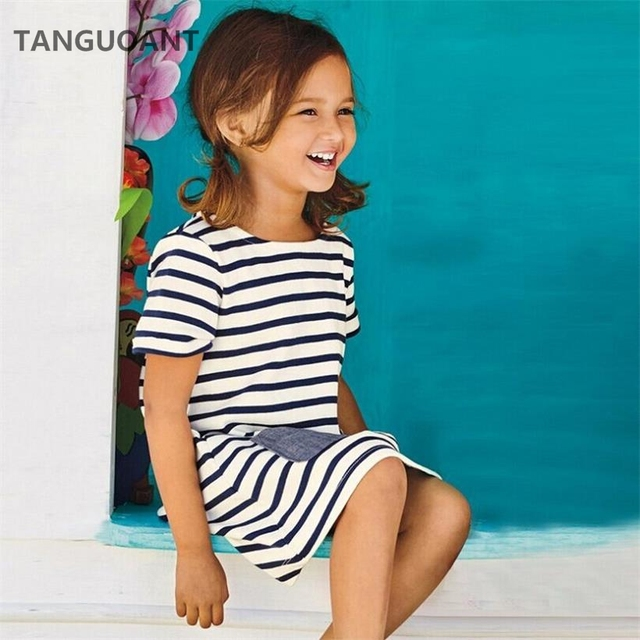 TANGUOANT Hot Bán 1-8 Năm Cô Gái Ngắn Tay Áo Màu Xanh Sọc Mùa Hè Ăn Mặc Bông Casual Dresses Trẻ Em Quần Áo