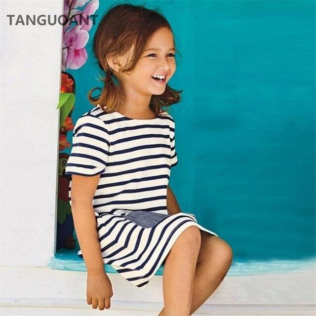 TANGUOANT Hot Sale 1-8 Anos Meninas Listra Azul de Manga Curta Vestido de Verão Vestidos Casuais Crianças Roupas de Algodão