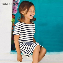 TANGUOANT Hot Sale 1-8 년 Girls Short Sleeve Blue Stripe Summer Dress 면 Casual 드레스 Kids 옷(China)
