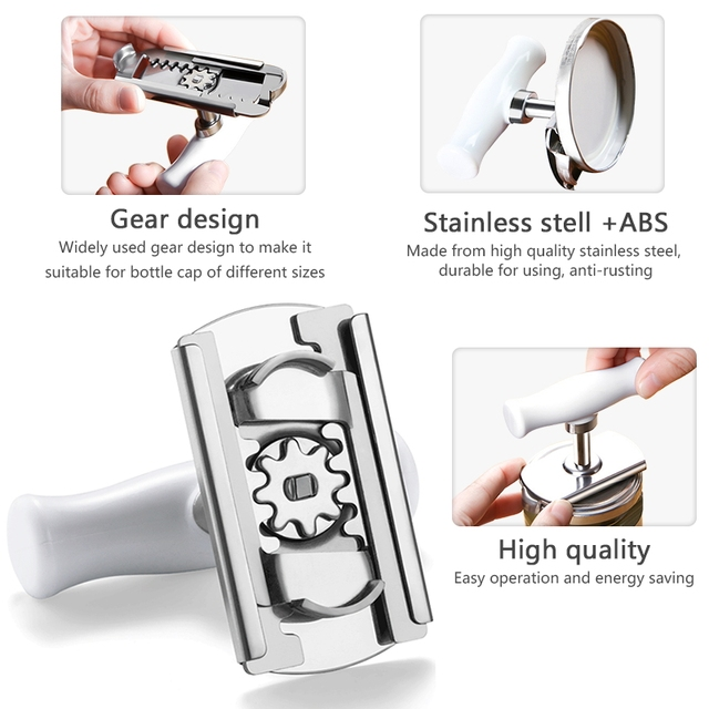 Adjustable Jar Opener Stainless Steel Lids off Jar Opener Bottle Opener Can Opener for 1-4 inches Kitchen Gadget 2