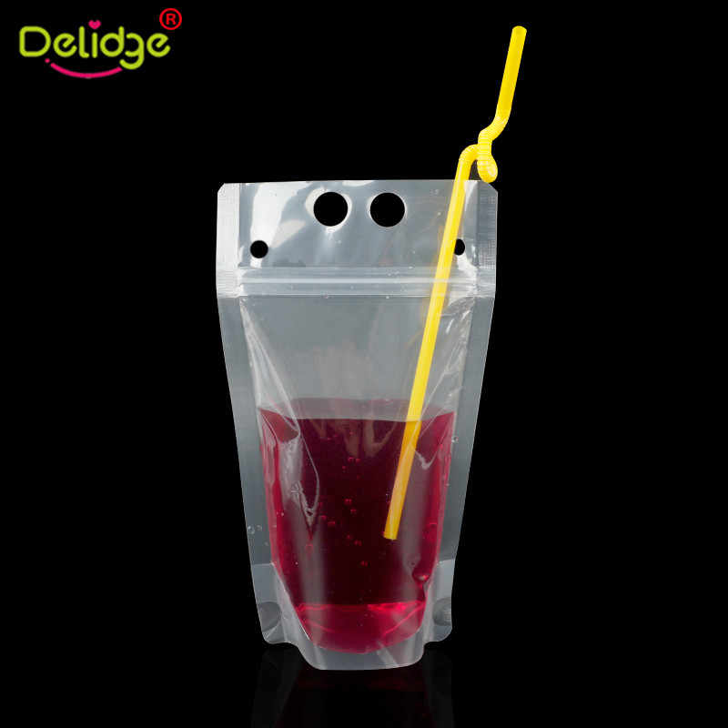 Delidge 5pcs Plastic Drink Packaging Bag Pouch for Beverage Juice Green Tea Milk Coffee with Handle and Holes for Straw