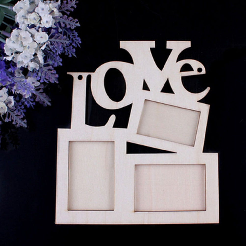 Hollow Love Design Wooden Photo Frame DIY Picture Frames Art Home ...