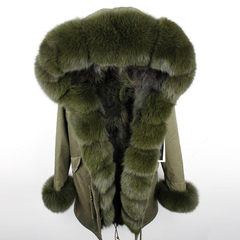 Maomaokong 2018 Новый Для женщин Зимняя длинная куртка теплая Модная лиса меховой воротник с мех енота лайнер парка пальто