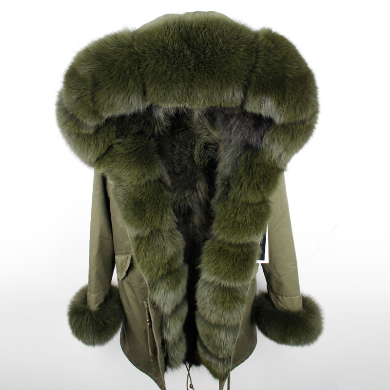 maomaokong 2018 NEW Women Winter Long Jacket Warm Fashion Fox Fur Collar With Raccoon Fur Liner Parka Coats