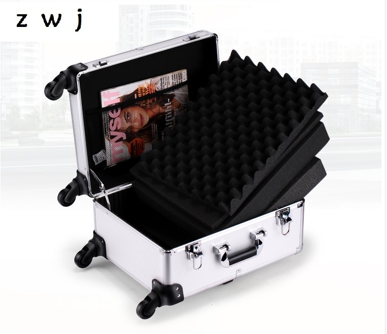 Aluminum trolley rolling luggage toolbox tool case Protective Case equipment box with foam lining suitcases on