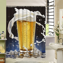 Summer Cool Dynamic Ice Beer Shower Curtain Waterproof Material Elegant Design Decorative For Bathroom