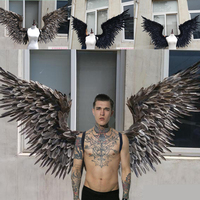 free shipping black large wings feather angle wing T stage model catwalk shows wings props party performance shows props cosplay