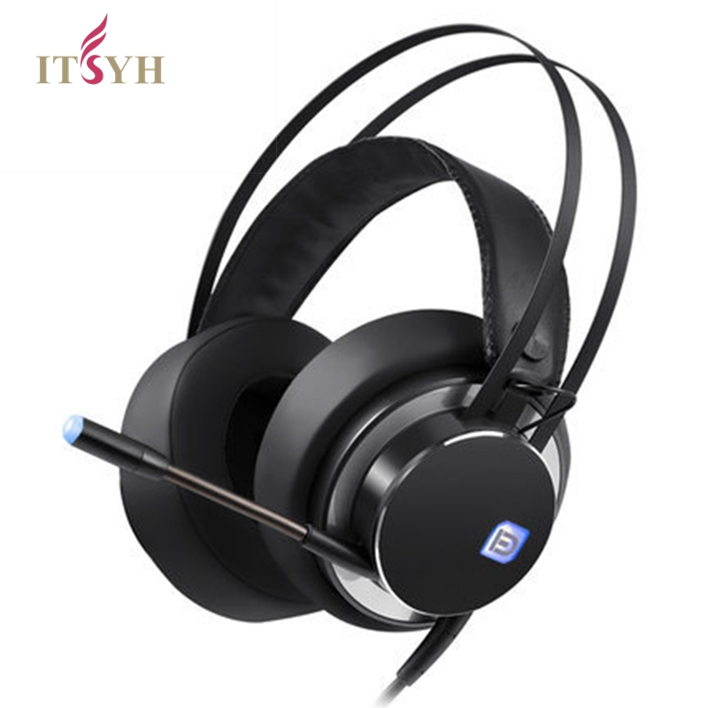 ITSYH LED Gaming Headphone 7.1 Channel Wired deep bass Game headphones Computer Gaming Headset Microphone  Internet Headphones each g1100 shake e sports gaming mic led light headset headphone casque with 7 1 heavy bass surround sound for pc gamer