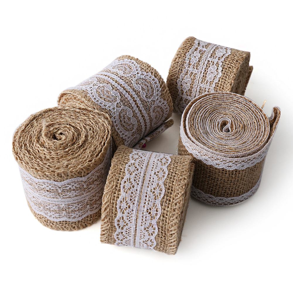 1 Roll Natural Jute Burlap Hessian Ribbon Lace Trims Tape Rustic Wedding Decor