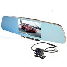 """New 5 """"dvr do carro câmera dupla espelho retrovisor do carro de grau superior câmera gravador de vídeo full hd 1080 p night vision dvr espelho estacionamento"""