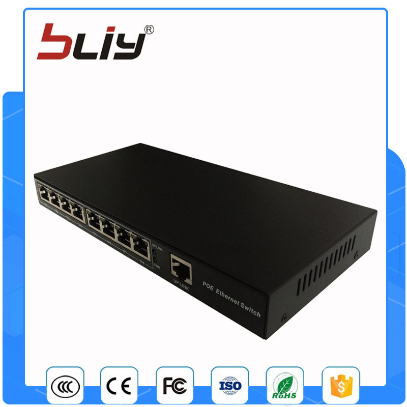 100M 8 poe port 1 uplink port poe network switch standard poe ethernet switch with 15.5/30W power supply