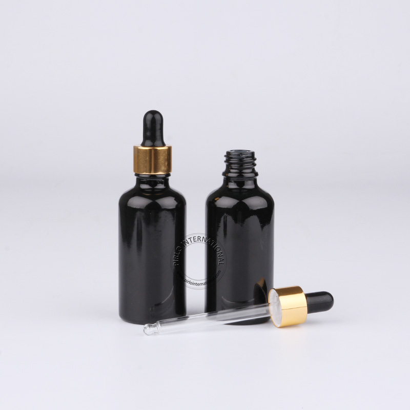20pcsx High Quality 50ml 50cc Black Essential Oil Bottle Empty Glass Dropper Container For Cosmetics Glass