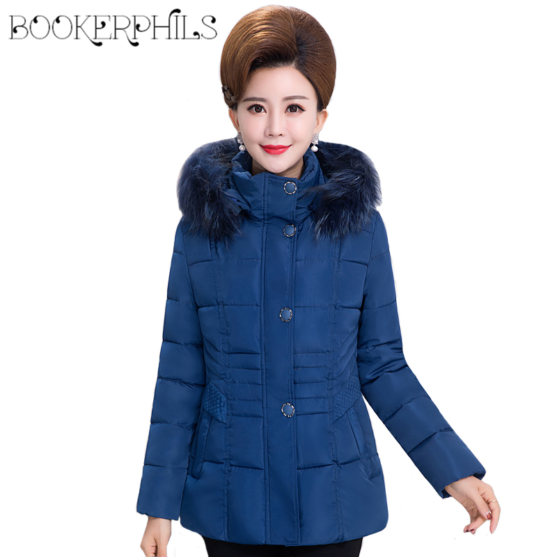 2017 Middle-aged Fur Collar Plus Size Padded-Cotton Parkas Female Coats Winter Jackets Women Hooded Overcoats Winter Outerwear women long plus size jackets padded cotton coats winter hooded warm wadded female parkas fur collar outerwear
