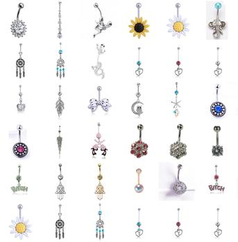 Sexy Dangling Navel Belly Button Rings Belly Piercing Crystal Surgical Steel 14g Woman Body Jewelry 1