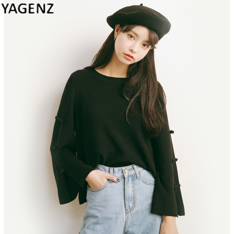 2017 primavera nuevas mujeres's cuello redondo manga flare camisa suéter suéter