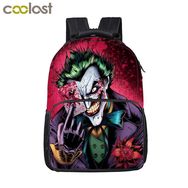 Crazy Joker Laptop Backpack Women Men Luggage Travel Bags mochila escolar Gothic Skull Backpack for Boys Children School Bags unicorn backpack women men leisure bag harajuku galaxy backpack school bags for girls boys mochila escolar children book bag 3d