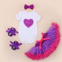 4 шт. в наборе Одежда для новорожденных девочек lave любовь комбинезон Фиолетовый пачка юбка для малышей для маленьких девочек s Обувь повязка ...
