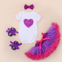 4PCs per Set Newborn Baby Girl Clothes Lave Love Romper Purple Tutu Petti Skirt Infant Baby Girls Shoes Bow Headband 0-24Months