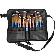 28 Pockets Makeup Brush Apron Bags Artist Belt Strap Holder Women Cosmetic Leather Bag