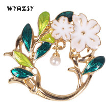 Luxury Enamel Green Leaf Brooches Fashion White Pearl Flowers Shawl Scarf Buckle Clips Wedding Women Accessories Jewelry Gifts