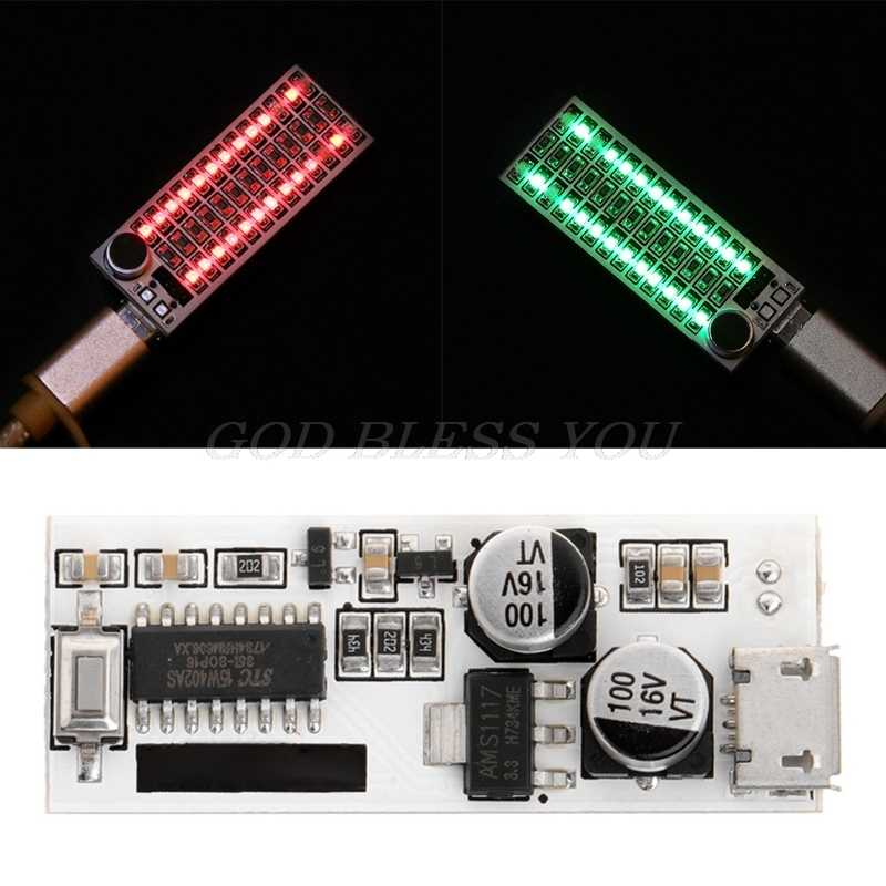 USB Mini Music Spectrum Light 2x13 LED Board Voice Control Sensitivity Adjust