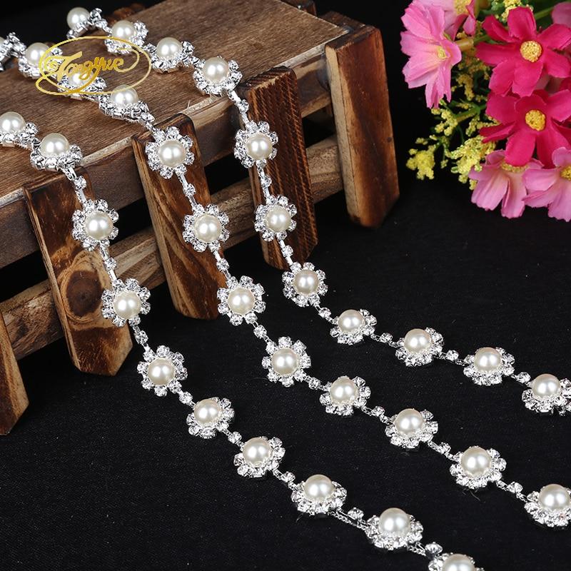 Tipo 1 Yd Aleación Cadena de cuentas de flores Prenda básica - Artes, artesanía y costura