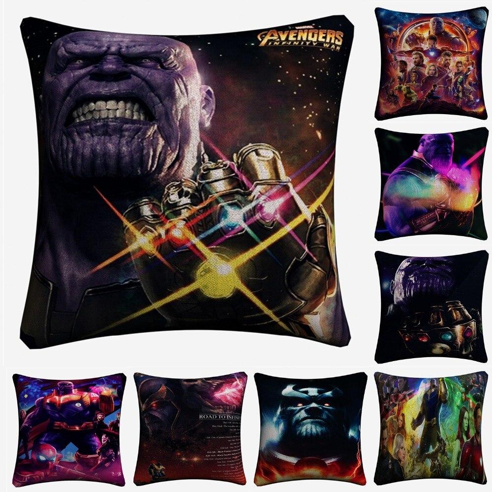 Thanos The Avengers Movie Decorative Linen Cushion Cover Pillow Case For Sofa 45x45cm Home Decor Throw Pillowcase Almofada