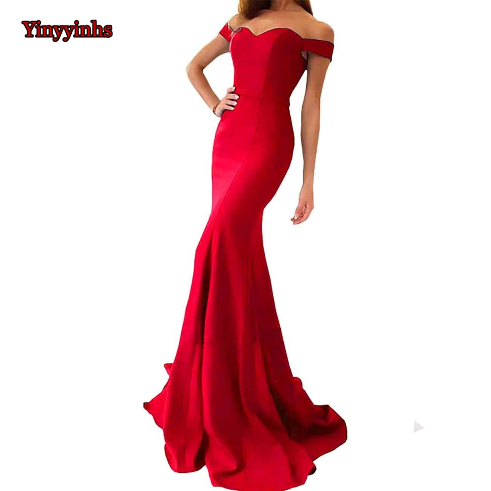 Simple Red Robe De Soiree Mermaid Long Evening Dress Party Elegant Off Shoulder Vestido De Festa Long Prom Gown With Train CG38(China)