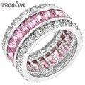 Vecalon Женщины Ювелирные Изделия кольца Имитация алмазный Розовый Сапфир Cz Стерлингового Серебра 925 Женский Обручальное кольцо