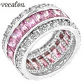 Vecalon Women Fashion Jewelry ring Simulated diamond Pink Sapphire Cz 925 Sterling Silver Female Engagement wedding Band ring