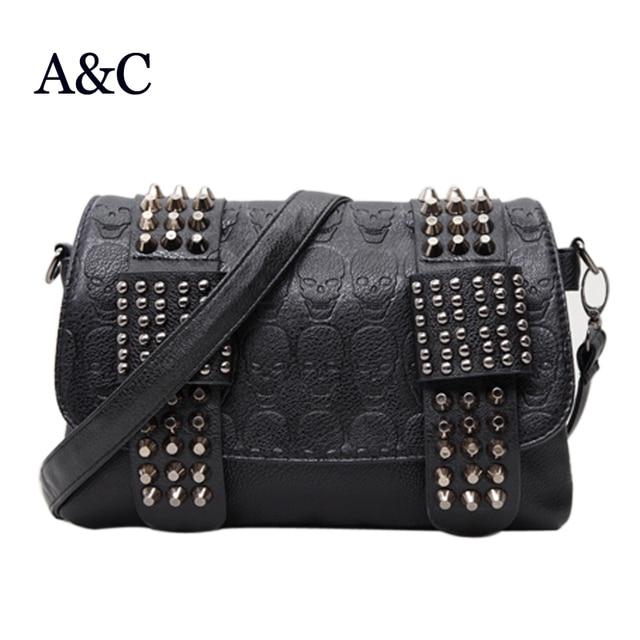 ec8e101daf AC fashion handbags wholesale handbag shoulder bag small portable Retro  Leather rivet bag High Quality PU Leather Day Clutch